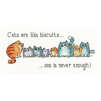 Heritage Crafts Cross Stitch Kit - Chats et Biscuits (Aida)
