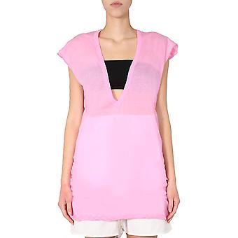 Rick Owens Ro20s1250uc183 Women's Pink Cotton T-shirt