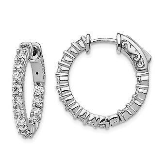 925 Sterling Silver Polished Hinged hoop Safety clasp Rhodium plated Black Plated With CZ Cubic Zirconia Simulated Diamo
