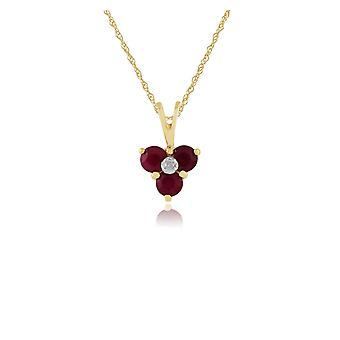 Classic Round Ruby & Diamond Cluster Pendant Necklace in 9ct Yellow Gold 25381