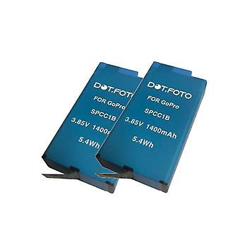 2 x Dot.Foto GoPro AC-BAT001 Replacement Battery - 3.85v / 1400mAh - GoPro Max Action Camera