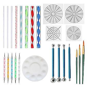 25pcs Mandala Dotting Tools Set - Dotting Pens, Brosse, Tiges acryliques avec blanc