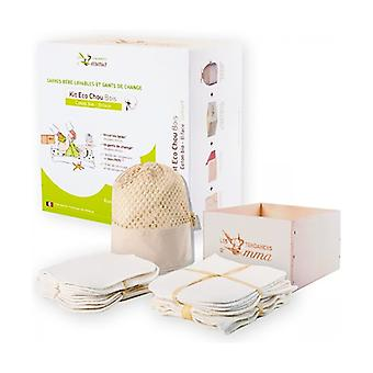Kit organic organic cotton double-sided cabbage 10 squares + 10 gloves + 1 wooden box with washing net 1 unit