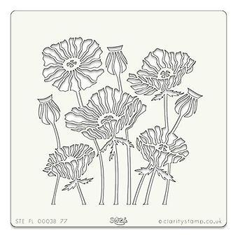 Plantilla de arte Claritystamp 7x7 pulgadas Poppies