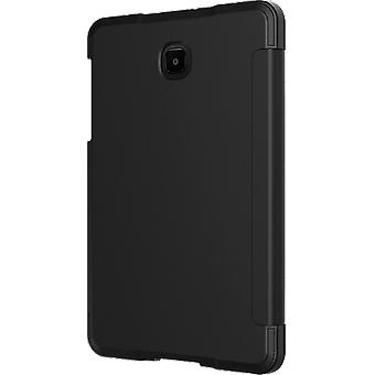 VZW Folio Verizon Bundle Tempered Glass Case for Samsung Galaxy Tab A 8.0 Full-Body Heavy Duty Shockproof Protective Built-in Screen Protector - Black