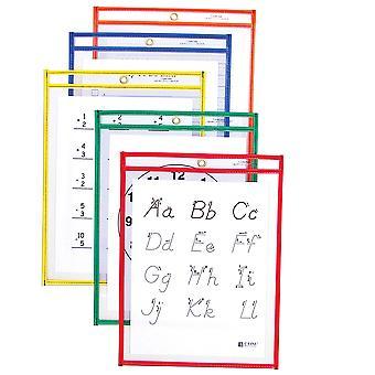 40610, Tasche di cancellazione a secco riutilizzabili, Colori primari assortiti, 9 x 12, 10/PK, 40610