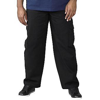 Duke D555 Hombres Carga Big Tall King Tamaño Algodón Pantalones Pantalones Pantalones - Negro