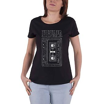 Nirvana T Shirt Come as You Are Tape Logo new Official Womens Skinny Fit Black