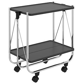 Lydia 2 Tier Folding Bar Cart - Weiß/Chrom