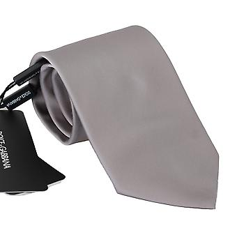 Grey 100% silk wide necktie men accessory tie