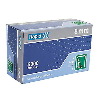 Rapid 140/8 8mm Galvaniseerde Staples Box 5000 RPD1408B5