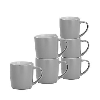 6 Piece Matt Tea and Coffee Mug Set - Modern Style Porcelain Cappuccino Latte Mugs - Grey - 350ml