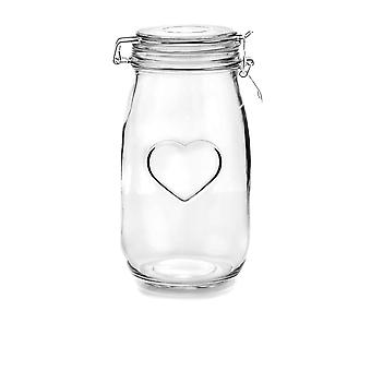 Nicola Spring Heart Glass Storage Jar with Airtight Clip Lid - 1.5L - White Seal