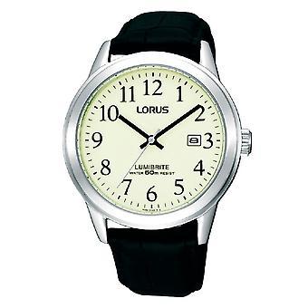Lorus Mens Classic Lumibrite Zifferblatt mit schwarzer Lederarmbanduhr (RH929BX9)