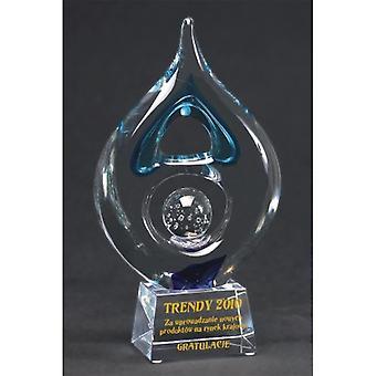 Gegraveerde glazen trofee + verfvulling