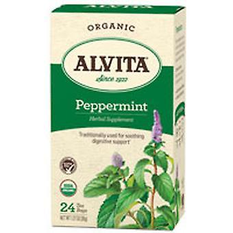 Alvita Čaje Organické máta peprná Leaf, 24 sáčků
