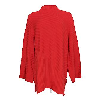 Charter Club Women's Plus Sweater Textured Knit Mock Neck Red