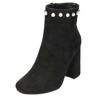 Koi Footwear Ankle Boots Block Heel Faux Suede Studded