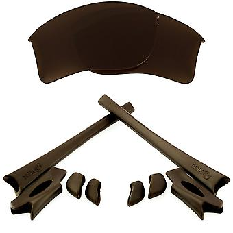 Replacement Lenses & Kit for Oakley Flak Jacket XLJ Brown & Brown Anti-Scratch Anti-Glare UV400 by SeekOptics