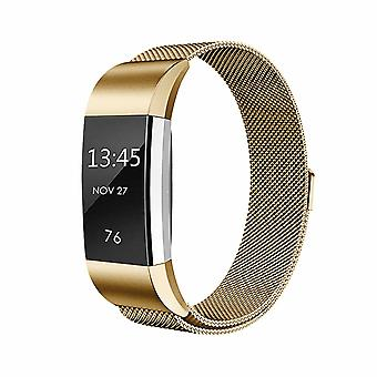 Milanese Stainless Steel Wrist Band For Fit-bit Charge 2 Smart Trackers - Gold