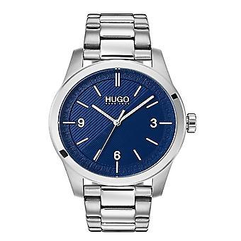 HUGO 1530015 Crie Relógio de Homens de Prata e Marinha