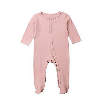 İlkbahar Sonbahar Giyim, Bebek Uzun Kollu Footies Katı Nervürlü Playuit Kıyafet