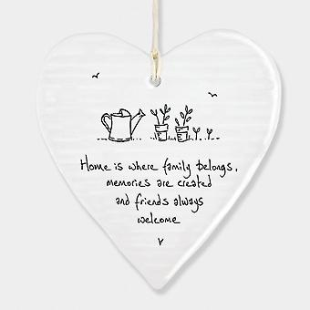 East of India Wobbly Round Heart Home is where family belongs Keepsake Gift