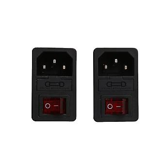 2pcs Inlet Plug Power Socket Fuse Red Rocker Switch 10A 250V Snap Type