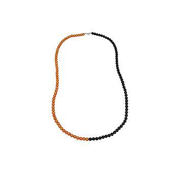 Collana Perline 8mm Arancione-Nero 90cm