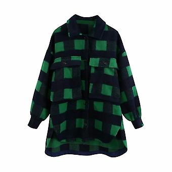 Sweet Plaid Woolen Shirt Jachete, Femei Buzunare Turn-down Guler Check, Chic