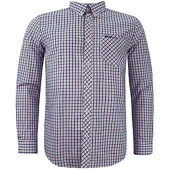 Ben Sherman Mens Checkered Shirt Long Sleeve Plaid Top 0062088 Pink