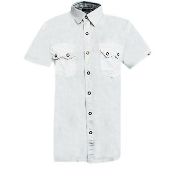 FILA Elmwood Short Sleeve Mens Popper Up White Collared Shirt U93393 100 R8M