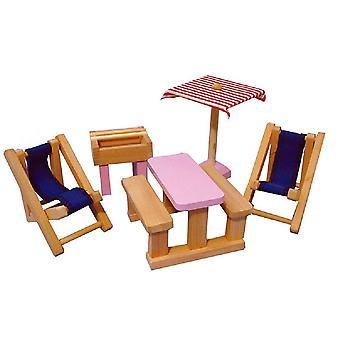 Dolls House Pink Wooden Garden Courtyard Patio Set Miniature 3 Years + Furniture