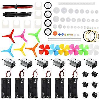 Sntieecr 6 set dc motors kit, mini electric motor 3v 15000rpm with 66 pcs plastic gears, aa battery