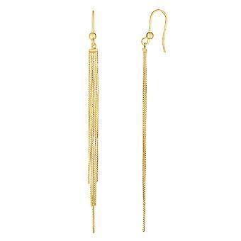 14K Yellow Gold 5 Strand Box Chain Tassel Drop Earrings