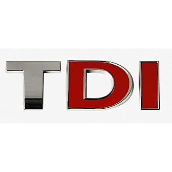 TDI Sports Edition Rear Fender Bonnet Badge Emblem Boot Chrome/Red