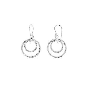 Dew Sterling Silver Set Double Hammered Circle Drop Earrings 6691HP027