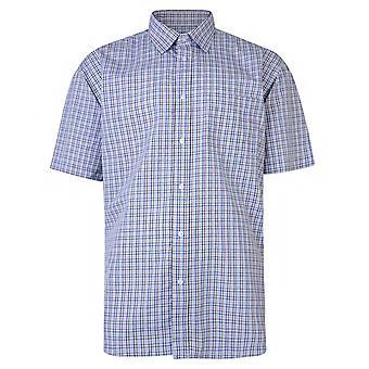 Metaphor Navy & Beige Check Short Sleeve Shirt