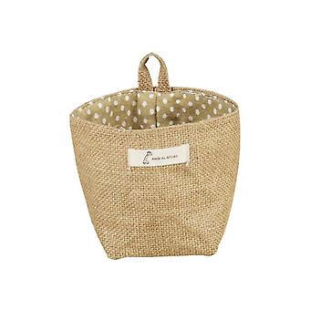 Hanging Storage Box, Jute Cotton Sundries Storage Basket