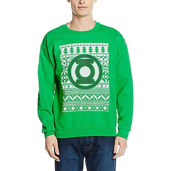 Green Lantern Unisex Adults Fair Isle Logo Crewneck Sweatshirt