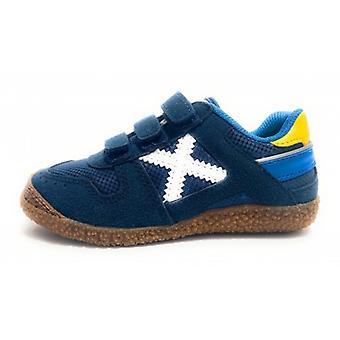 Munich Sneaker With Strap Mini Goal Suede/ Navy Blue Fabric Z21mu03