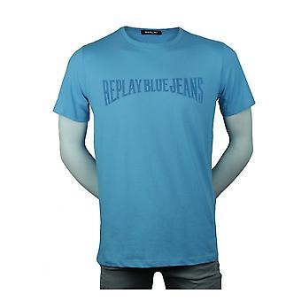 Replay Jeans Replay Mens Blue Jean Logo T Shirt Aqua Blue