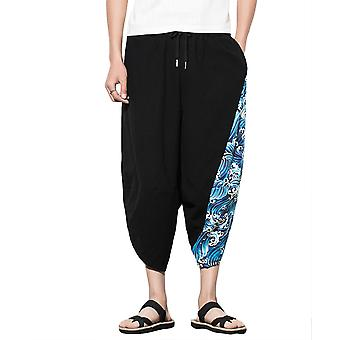 Allthemen Men's Traditional Loose Casual Harem Pants Chinese Traditional Embroidery Graphics
