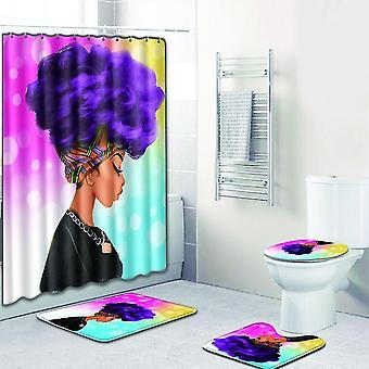 4pc Shower curtain + mat African woman