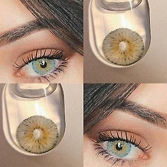 1 Pair Blue Natural Colored Contact Lenses For Eyes Cosmetic Colored