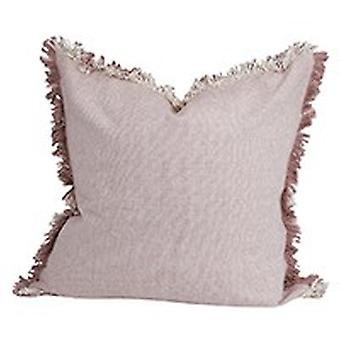Set of 2 Light Pink Solid Decorative Pillows with Fringe