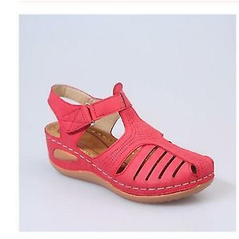 Summer Shoes Women Sandals Pu Buckle Ladies Retro Sewing Hollow