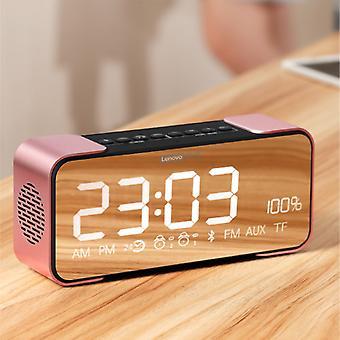 Lenovo L022 Digital LED Clock with Speaker - Wireless Alarm Clock Mirror Alarm Phone Holder Snooze Brightness Adjustment Pink