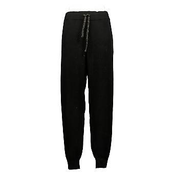 Zuda Women's Bukser Plus Soft Sweater Strik Træk på Jogger Black A390242