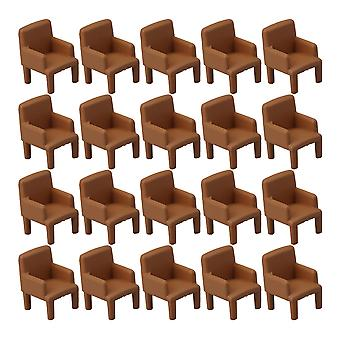 20 pcs Ensemble 1:50 Chaises modèles pour Doll House Miniature Sofa Chairs Brown
